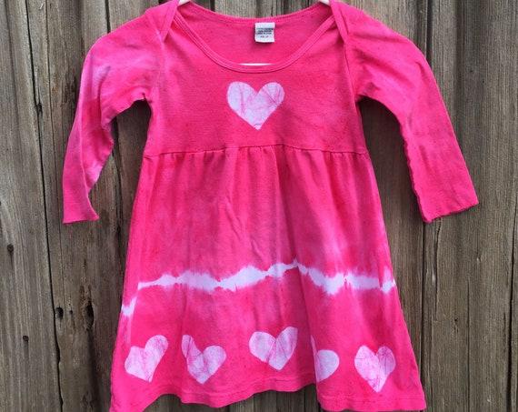 Pink Girls Dress, Girls Heart Dress, Tie Dye Girls Dress, Batik Girls Dress, Pink Heart Dress, Girls Pink Dress, Long Sleeve Dress (4T)