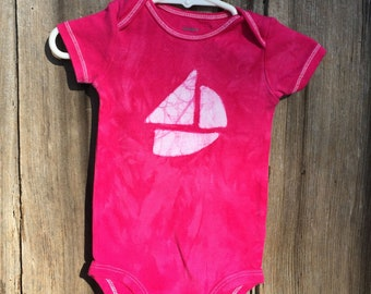Sailboat Baby Gift, Pink Sailboat Bodysuit, Baby Girl Gift, Boat Baby Gift, Pink Baby Gift, Nautical Baby Gift, Baby Shower Gift (9 months)