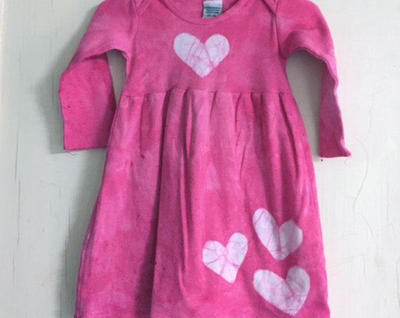 Pink Girls Dress, Girls First Birthday Gift, Pink Heart Dress, Valentine's Day Dress, Pink Baby Dress, Long Sleeve Girls Dress (12 months)