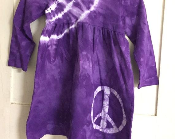 Peace Sign Dress, Girls Peace Sign Dress, Purple Peace Sign Dress, Purple Peace Dress, Back to School Dress, Long Sleeve Girls Dress (6)