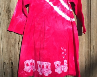 Pink Train Dress, Girls Train Dress, Long Sleeve Train Dress, Hot Pink Girls Dress, Train Girls Dress, Toddler Train Dress Dress (2T)