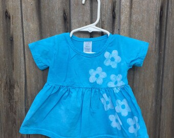 Blue Baby Dress, Blue Flower Baby Dress, Baby Girls Dress, Flower Girl Dress, Turquoise Baby Dress, Light Blue Baby Dress (6 months)
