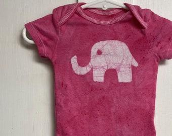 Elephant Baby Gift, Elephant Baby Bodysuit, Pink Elephant Bodysuit, Pink Baby Gift, Baby Shower Gift, Baby Girl Gift (3-6 months)