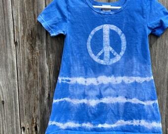 Girls Peace Sign Dress, Peace Sign Girls Dress, Batik Peace Sign Dress, Girls Tie Dye Dress, Tie Dye Peace Sign Dress, Dress with Peace Sign