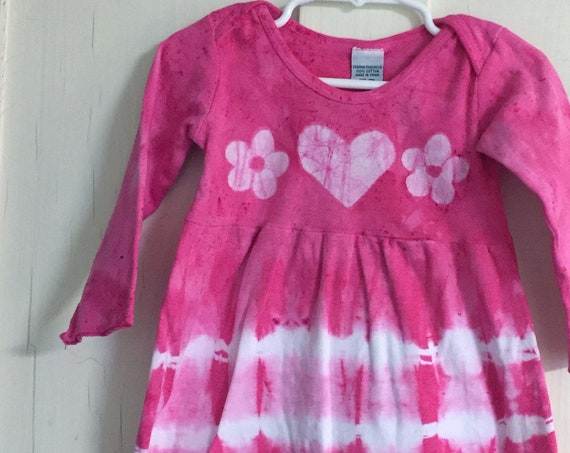 Pink Girls Dress, Flower Girls Dress, Long Sleeve Girls Dress, Pink Flower Dress, Girls Tie Dye Dress, Valentine's Day Dress (18 months)