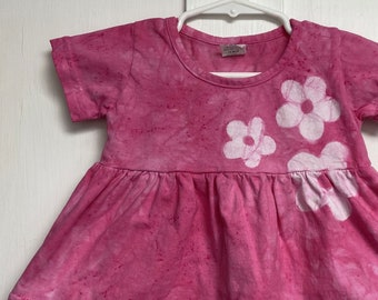 Pink Baby Dress, Pink Baby Outfit, Baby Girls Dress, Toddler Girls Dress, Pink Toddler Dress, Pink Flower Dress, Birthday Gift (12 months)