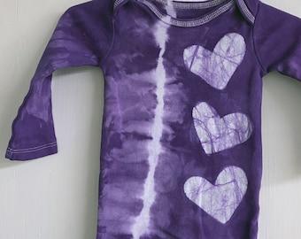 Valentine's Day Baby Gift, Valentine's Day Baby Bodysuit, Tie Dye Baby Bodysuit, Baby Bodysuit with Hearts, First Valentine's Day, Baby Gift