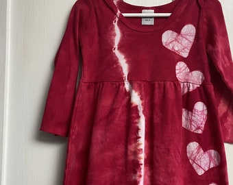 Red Girls Dress, Red Heart Dress, Toddler Girls Dress, Tie Dye Dress, Girls Tie Dye Dress, Girls Heart Dress, Valentines Day Dress (2T)