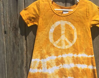 Girls Peace Sign Dress, Peace Sign Girls Dress, Batik Peace Sign Dress, Girls Tie Dye Dress, Tie Dye Peace Sign Dress, Dress with Peace Sign