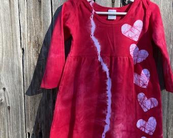 Girls Valentine's Day Dress, Tie Dye Girls Dress, Girls Dress with Hearts, Batik Valentine's Day Dress, Tie Dye Valentine's Day, Long Sleeve