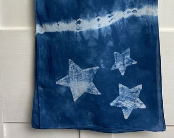 Star Scarf, Blue Star Scarf, Celestial Scarf, Tie Dye Star Scarf, Teacher Gift, Mothers Day, Gift for Mom, Batik Scarf, Tie Dye Scarf