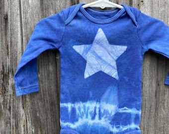 Star Baby Bodysuit, Blue Star Bodysuit, Blue Baby Bodysuit, Blue Baby Gift, Tie Dye Baby, Neutral Baby Gift, Baby Shower Gift (9 months)