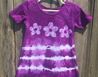 Flower Girls Dress, Purple Girls Dress, Purple Flower Dress, Tie Dye Girls Dress, Girls Tie Dye Dress, Purple Dress, Flower Girl Gift (2T)