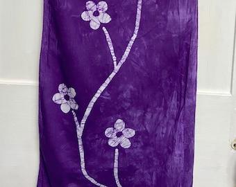 Flower Scarf, Batik Flower Scarf, Bridesmaid Gift, Flower Girl Gift, Gift for Gardener, Teacher Gift, Gift for Mom, Cotton Scarf