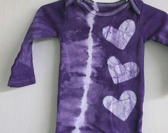 Valentine's Day Baby Gift, Valentine Bodysuit, Tie Dye Baby Bodysuit, Purple Baby Gift, Baby Shower Gift, Heart Baby Bodysuit (6-9 months)
