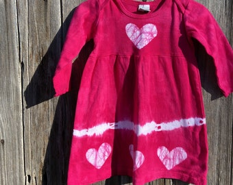 Girls Valentine's Day Dress, Girls Tie Dye Dress, Baby Valentine's Day Dress, Baby Tie Dye Dress, Girls Dress with Hearts, Baby Heart Dress