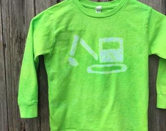 Kids Truck Shirt, Boys Truck Shirt, Girls Truck Shirt, Kids Excavator Shirt, Green Excavator Shirt, Kids Digger Shirt, Childrens Shirt (4/5)