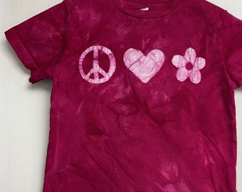 Pink Peace Sign Shirt, Peace Love and Flower Shirt, Girls Peace Sign Shirt, Pink Kids Shirt, Kids Peace Sign Shirt, Batik Kids Shirt (4/5)