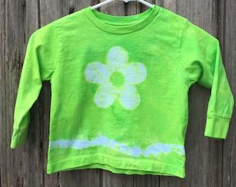 Green Kids Shirt, Green Flower Shirt, Flower Girl Shirt, Green Girls Shirt, Long Sleeve Kids Shirt, Kids Tie Dye Shirt, Batik Kids (3T)