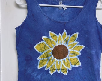 Sunflower Tank Top, Floral Tank Top, Blue Flower Tank Top, Womens Tank Top, Ladies Tank Top, Sleeveless Womens Top, Blue Ladies Tank Top (M)