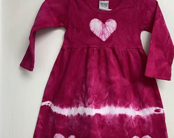 Pink Girls Dress, Girls First Birthday Gift, Pink Heart Dress, Valentine's Day Dress, Pink Baby Dress, Long Sleeve Dress (12 months)