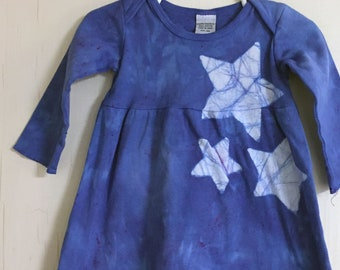 Baby Star Dress, Blue Baby Dress, Long Sleeve Baby Dress, Celestial Baby Dress, Batik Baby Dress, Girls First Birthday Gift (12 months)