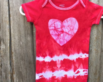 Baby Valentine's Day Gift, Valentine's Day Baby Bodysuit, Tie Dye Baby Bodysuit, Baby Bodysuit with Heart, First Valentine's Day, Baby Gift