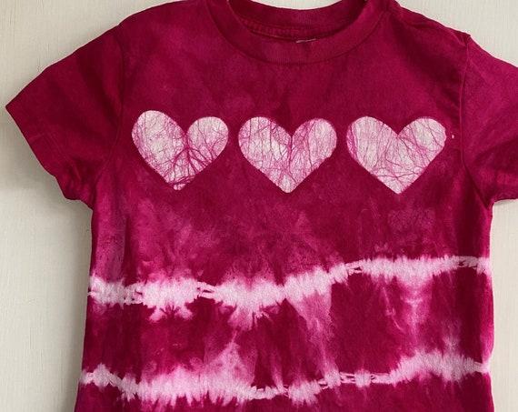 Pink Girls Shirt, Girls Tie Dye Shirt, Tie Dye Girls Shirt, Pink Heart Shirt, Batik Girls Shirt, Pink Tie Dye Shirt, Birthday Gift (3T)