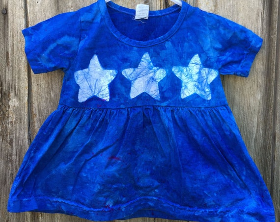 Blue Baby Dress, Star Baby Dress, Star Baby Outfit, Baby Girl Outfit, Blue Baby Outfit, Blue Star Baby Dress, Baby Dress Blue (18 months)