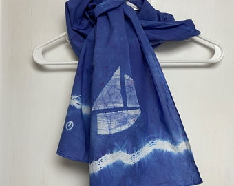 Sailboat Scarf, Boat Scarf, Blue Sailboat Scarf, Cotton Scarf, Nautical Boat Scarf, Teacher Gift, Mothers Day, Tie Dye Scarf, Gift for Mom