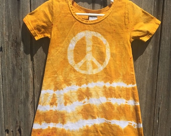 Girls Peace Sign Dress, Yellow Peace Sign Dress, Batik Peace Sign Dress, Yellow Girls Dress, Girls Tie Dye Dress, Girls Yellow Dress (2T)