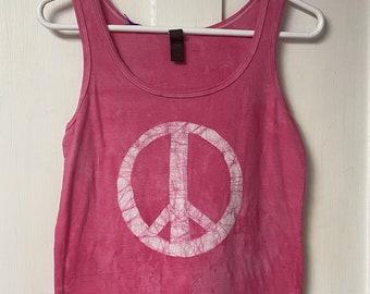 Pink Peace Sign Tank Top, Peace Sign Tank, Pink Peace Tank Top, Ladies Peace Sign Top, Womens Peace Sign Top, Ladies Peace Shirt (S)