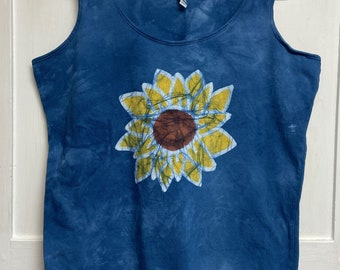 Sunflower Tank Top, Floral Tank Top, Flower Tank Top, Womens Tank Top, Ladies Tank Top, Sleeveless Womens Top, Blue Ladies Tank Top (XL)