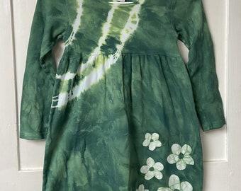 Tie Dye Girls Dress, Flower Girl Dress, Long Sleeve Girls Dress, Green Girls Dress, Girls Flower Dress, Girls Green Dress, Cotton Dress (6)