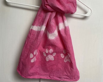 Paw Print Scarf, Pink Paw Print Scarf, Animal Lovers Scarf, Cat Lovers Scarf, Dog Lovers Scarf, Teacher Gift, Gift for Mom, Tie Dye Scarf
