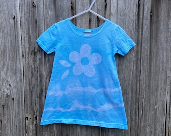 Back to School Dress, Girls Tie Dye Dress, Blue Tie Dye Dress, Light Blue Girls Dress, Girls Flower Dress, Flower Girl Dress (2T)