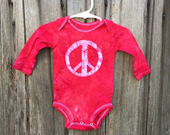 Peace Sign Baby Bodysuit, Peace Baby Bodysuit, Peace Sign Baby Gift, Red Baby Gift, Gender Neutral Baby Gift, Baby Shower Gift (3-6 months)