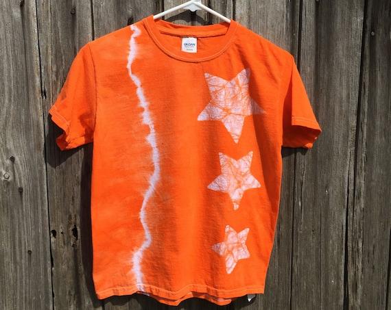 Kids Star Shirt, Celestial Kids Shirt, Girls Star Shirt, Boys Star Shirt, Orange Star Shirt, Tie Dye Kids Shirt, Kids Shirt with Stars (8)