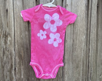 Pink Baby Bodysuit, Baby Girl Bodysuit, Flower Girl Bodysuit, Pink Flower Bodysuit, Pink Baby Gift, Baby's First Birthday (12 months)