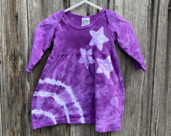 Baby Girl Gift, Purple Baby Dress, Star Baby Dress, Purple Star Dress, Baby Shower Gift, Purple Baby Gift, Tie Dye Baby Dress (3 months)