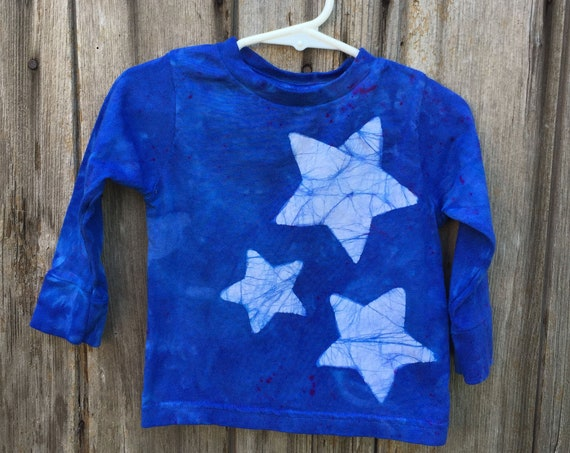 Toddler Star Shirt, Kids Star Shirt, Boys Star Shirt, Girls Star Shirt, Kids Celestial Shirt, Blue Star Shirt, Batik Star Shirt (18 months)