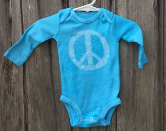 Peace Sign Baby Bodysuit, Peace Baby Bodysuit, Peace Sign Baby Gift, Blue Baby Bodysuit, Gender Neutral Baby Bodysuit (0-3 months)