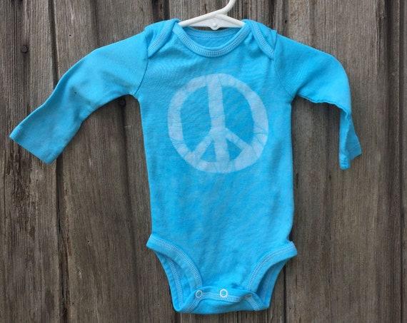 Peace Sign Baby Bodysuit, Peace Baby Bodysuit, Peace Sign Baby Gift, Blue Baby Bodysuit, Gender Neutral Baby Bodysuit (0-3 months)