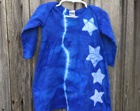 Girls Star Dress, Baby Star Dress, Blue Star Dress, Toddler Girls Dress, Blue Baby Dress, Blue Girls Dress, Star Girls Dress (18 months)