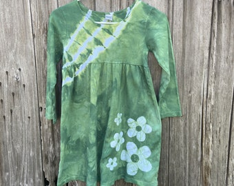 Tie Dye Girls Dress, Flower Girl Dress, Green Girls Dress, Long Sleeve Girls Dress, Green Flower Dress, Girls Tie Dye Dress (8)