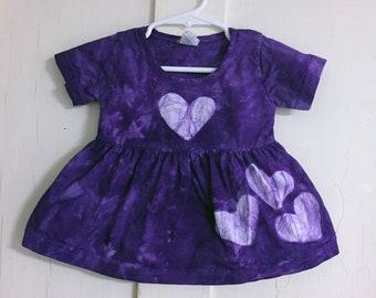 Purple Baby Dress, Purple Girls Dress, Valentine's Day Dress, Purple Heart Dress, First Birthday Gift, First Valentine's Day (12 months)