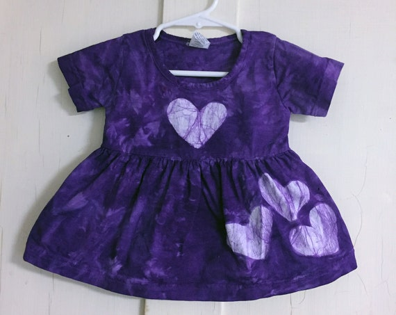 Purple Baby Dress, Purple Girls Dress, Valentine's Day Dress, Purple Heart Dress, First Birthday Gift, First Valentine's Day (12 months)
