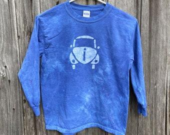 Kids Car Shirt, Blue Car Shirt, Boys Car Shirt, Girls Car Shirt, Long Sleeve Kids Shirt, Blue Kids Shirt, Hippie Car Shirt, Batik (8)