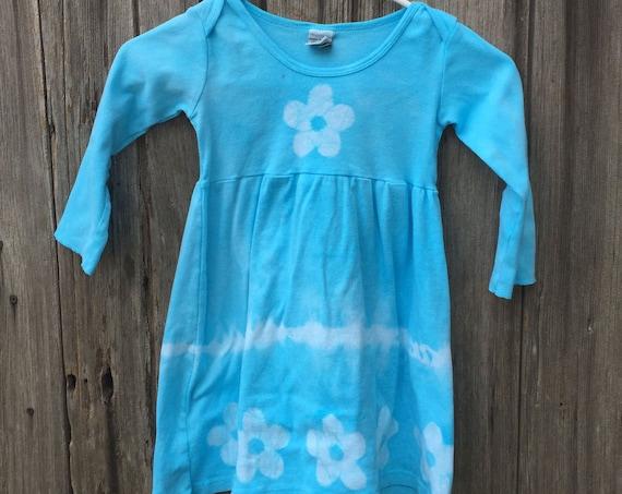 Light Blue Girls Dress, Turquoise Girls Dress, Flower Girls Dress, Girls Flower Dress, Long Sleeve Girls Dress, Tie Dye Girls Dress (4T)