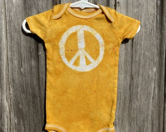 Peace Sign Baby Bodysuit, Baby Peace Sign, Peace Sign Baby Gift, Yellow Baby Gift, Gender Neutral Baby Gift, Peace Baby Clothes (12 months)